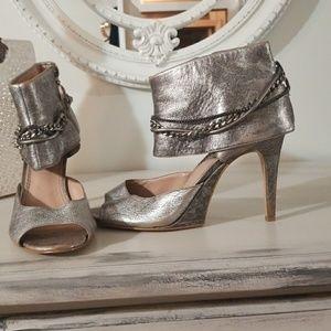 Boutique 9 metallic cuffed ankle open-toe heels